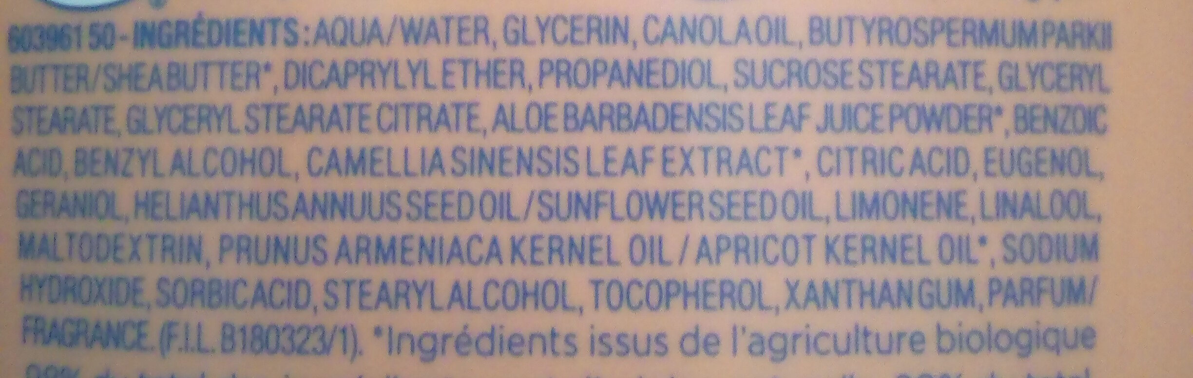 Lait corps nutritif protecteur - Ingredients