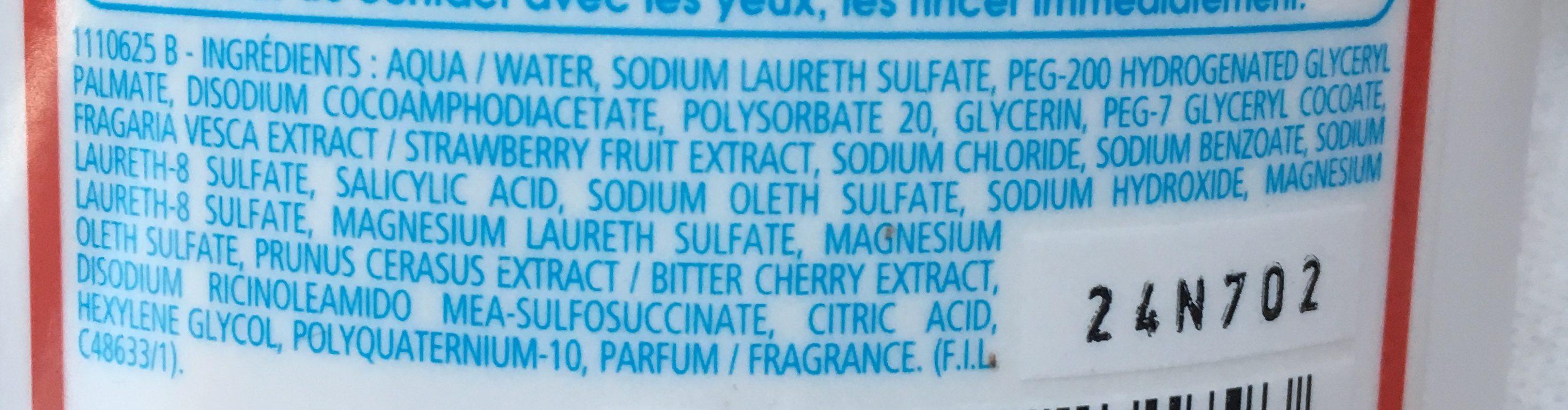 Shampooing 2 en 1 ultra démêlant, Fraise-cerise - Ingredients - fr