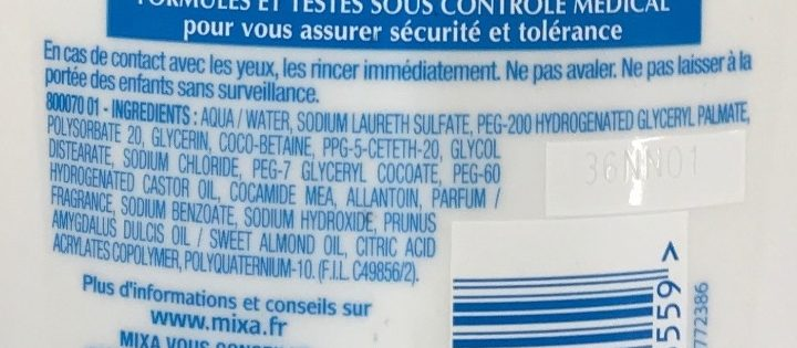 Douche-soin antidessèchement surgras - Ingredients