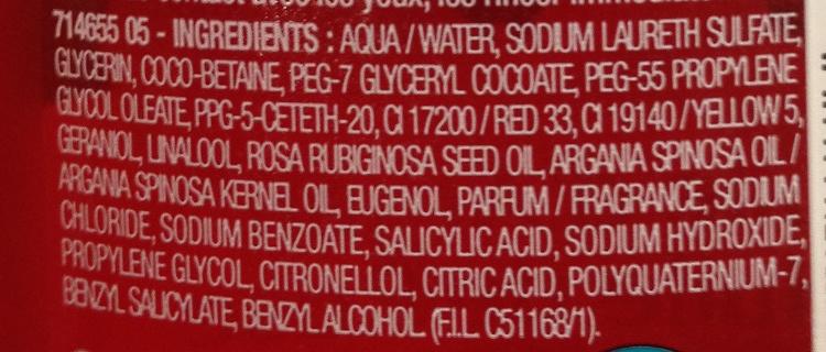 Huile de douche nourrissante hammam à l'huile d'Argan et à l'huile de rose - Ingredients - fr