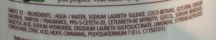 Douche crème douceurs d'enfance au parfum de l'anthentique madeleine - Ingredients