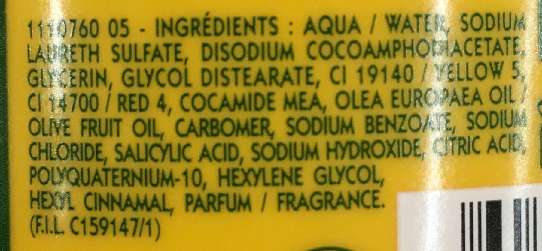 Shampooing très doux à l'huile d'olive 3 en 1 - Ingredients - fr