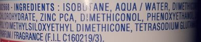 Anti-transpirant Bacti-Pur Zinc - Ingredients