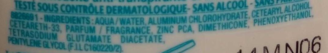 Anti-Transpirant Bacti-Pur Zinc Fraîcheur saine 48H - Ingredients