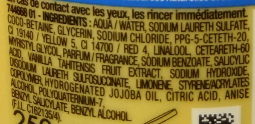 Baume de Douche apaisant Polynésie Vanille & Beurre de Jojoba - Ingredients