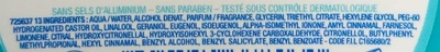 Retouches 2 en 1 anti odeurs - Ingredients