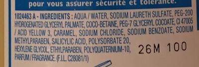 Mixa Bébé Shampooing très doux hypoallergénique - Ingrédients
