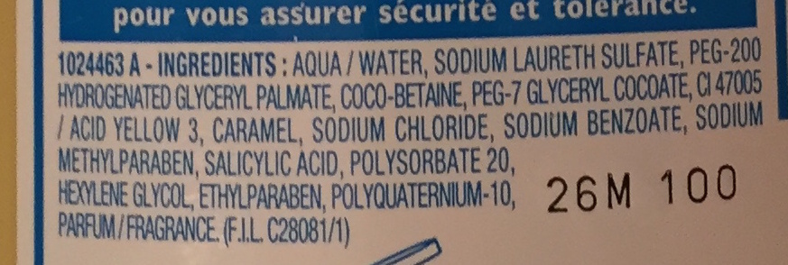 Mixa Bébé Shampooing très doux hypoallergénique - Ingredients