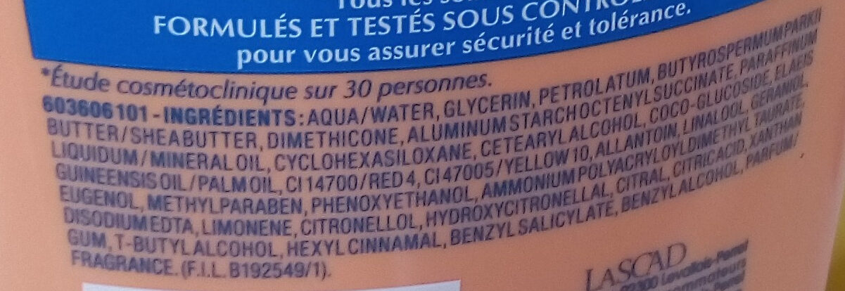 Mixa intensif peau sèche - Ingredients - fr