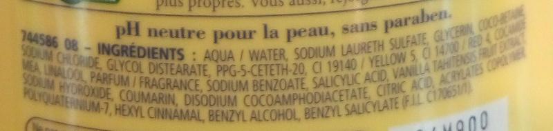 Douche crème douceurs de nos régions à la vanille douce de Polynésie - Ingrédients - fr