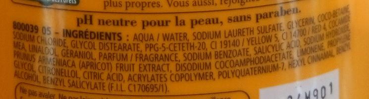 Douche crème douceurs de nos régions à l'abricot du Roussillon - Ingredients - fr