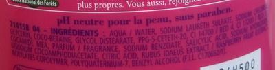 Douche crème douceurs de nos régions à la framboise de la vallée du Rhône - Ingrédients