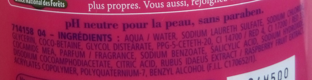 Douche crème douceurs de nos régions à la framboise de la vallée du Rhône - Ingredients - fr