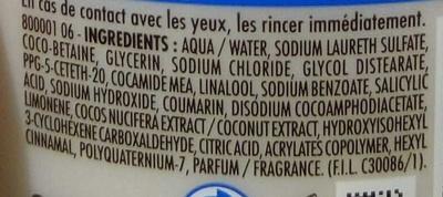 Douche crème Nourrissante Ressource au lait de Coco - Ingrédients