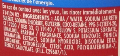 Gel douche hydratant à la pulpe de grenade des Açores - Ingredients
