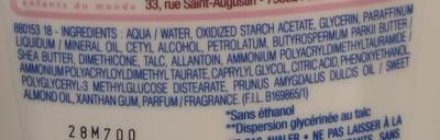 Lait corps hydratant surdoux à la crème de talc - Ingredients