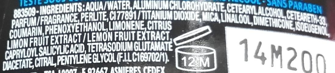 Anti-transpirant Narta Homme Peau parfaite - Ingredients - fr