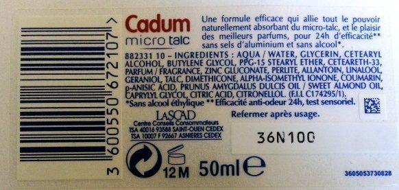 déodorant micro talc Cadum fraicheur pivoine - Ingredients