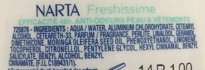 Déodorant bille freshissime - Ingredients