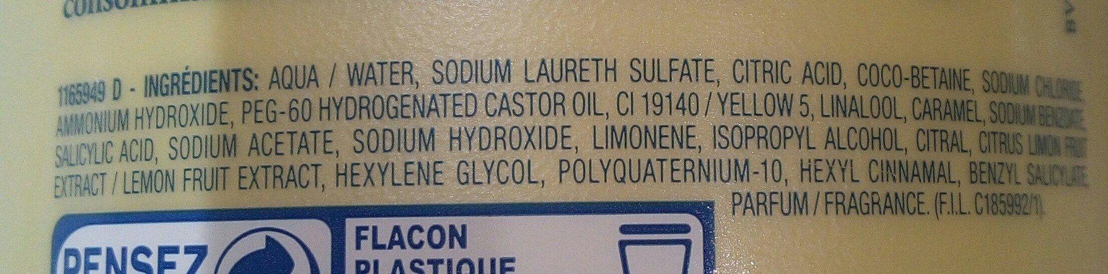 Shampooing à La Puple De Citron / Zitronen-shampoo - Ingredients