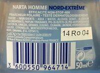 Antitranspirant Narta Homme Nord-Extrême - Ingrédients