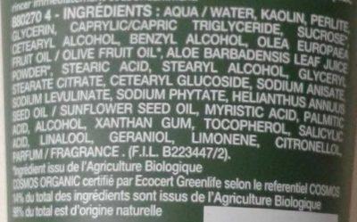 Le masque de pureté nettoyant - Ingredients