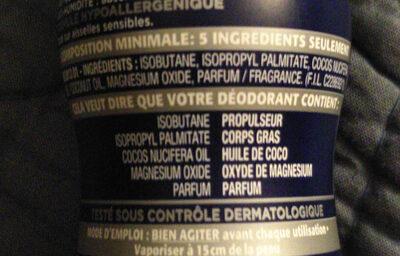 Déodorant narta homme magnésium - Ingrédients - fr