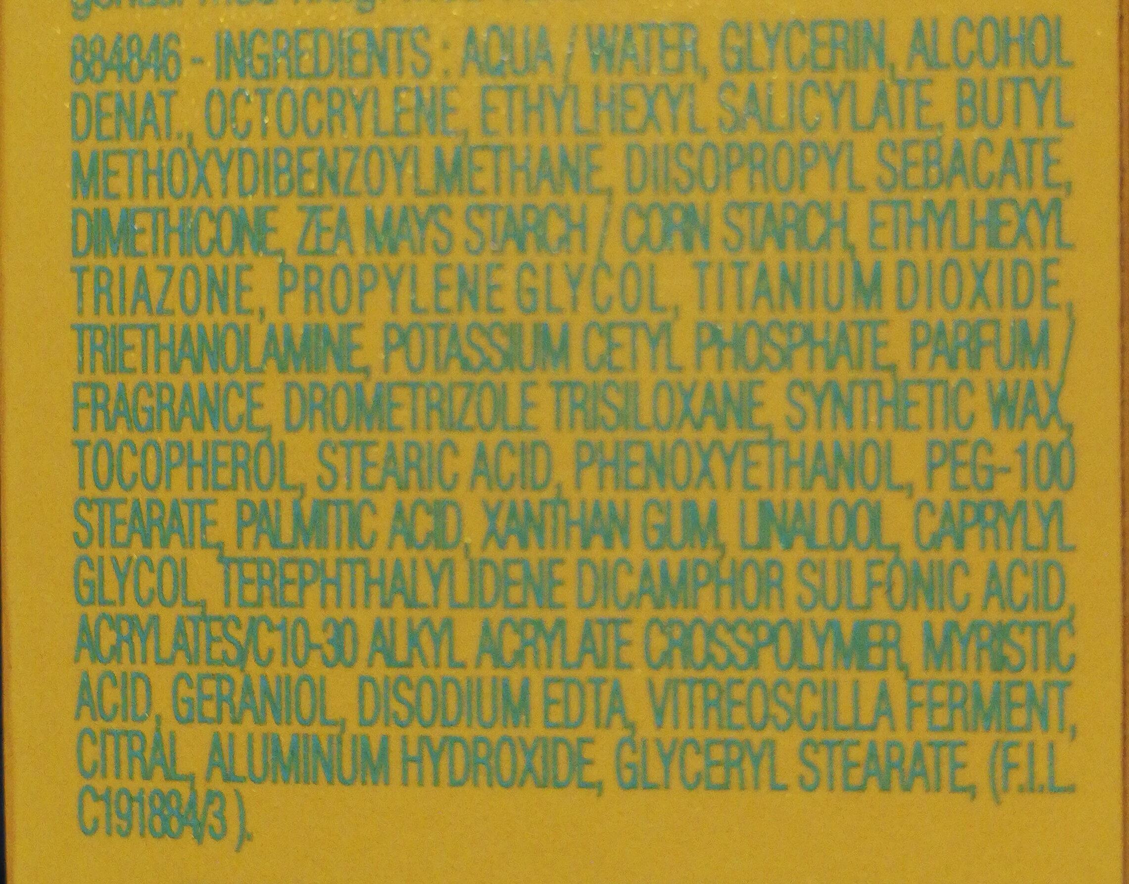 Biotherm Anti-wrinkles sun cream - Ingredients