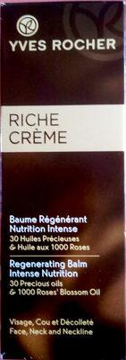 Riche Crème Baume Régénérant Nutrition Intense - Produit