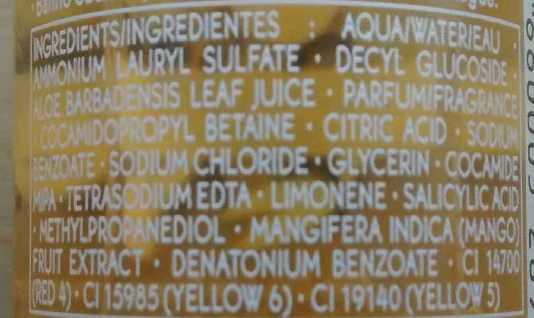 Mangue coriandre - bain douche énergie - Ingrédients - fr