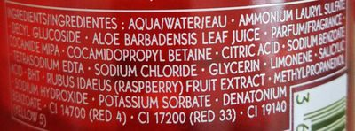 Bain douche énergisant framboise menthe poivrée - Ingredients - fr