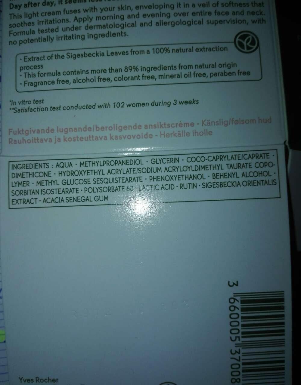 Crème hydratante peau sensible - Ingredients