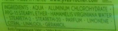 Anti-Transpirant Citron Vert du Mexique 24H - Ingredients - fr