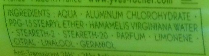 Anti-Transpirant Citron Vert du Mexique 24H - Ingrédients - fr