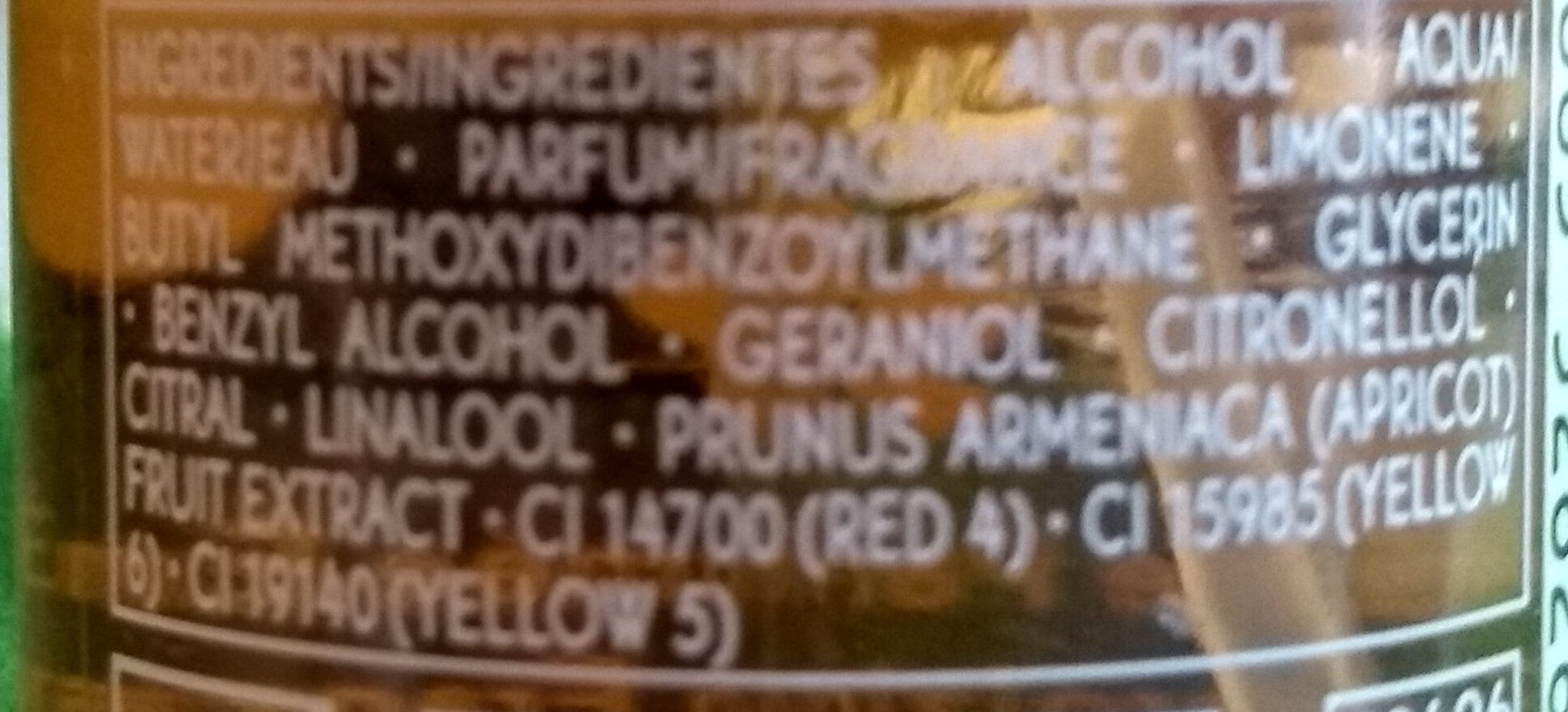 Brume Parfumée énergisante - Ingredients
