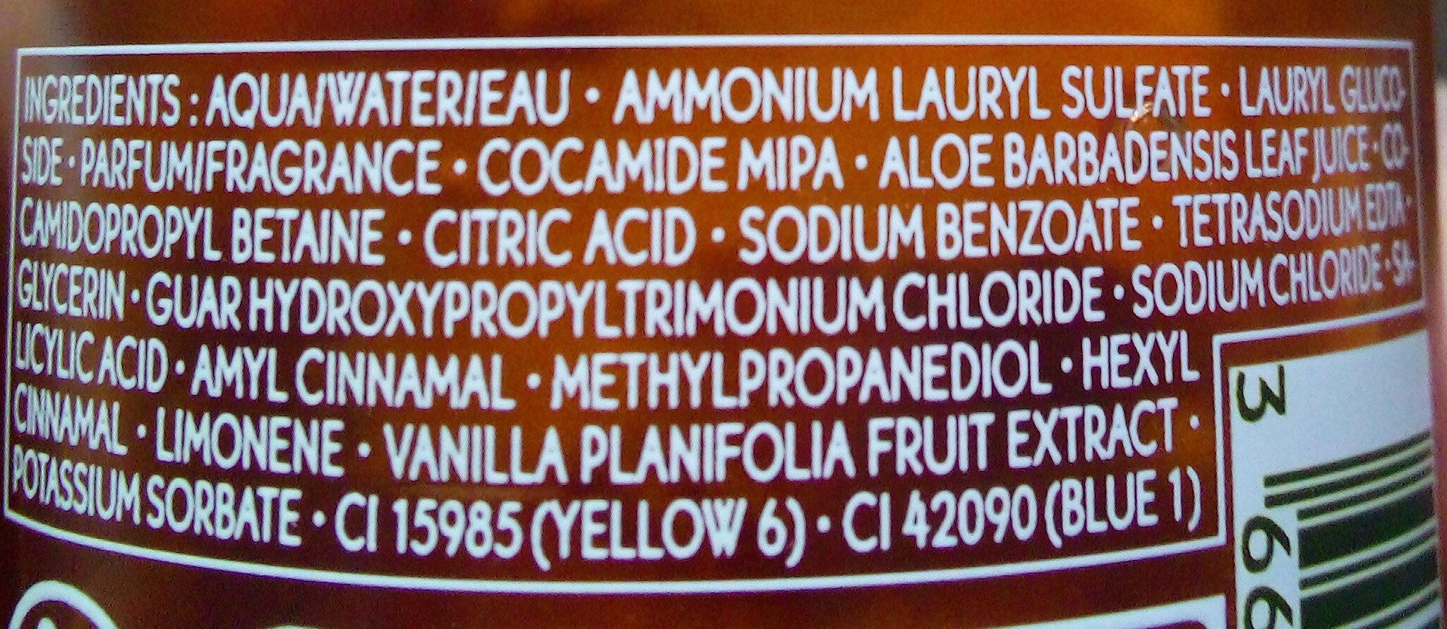Bain douche sensuel vanille bourbon - Ingrédients