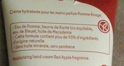 Crème hydratante pour les mains parfum Pomme Rouge - Ingredients - fr