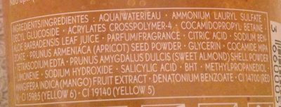 Gel douche gommant énergisant mangue coriandre - Ingredients - en