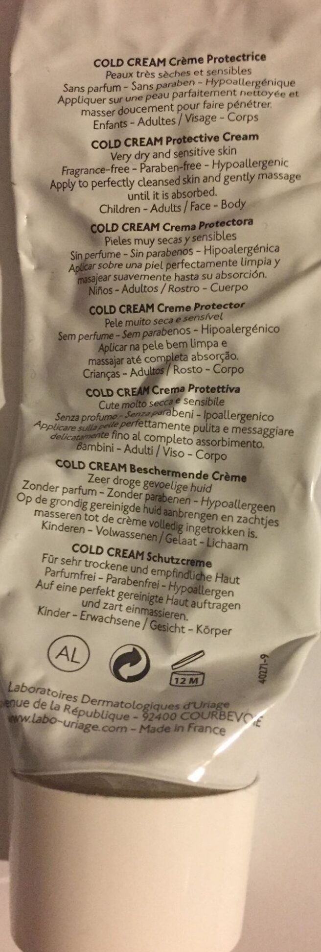 Cold Cream - crème protectrice - Ingredients