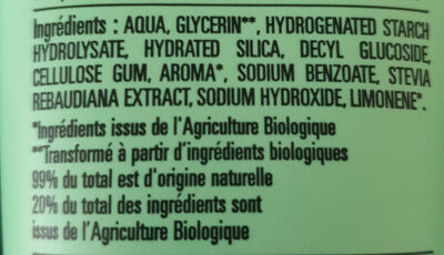 Dentifrice sans fluor - Ingredients