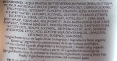 Lait corps nutri-régénérant - Ingredients