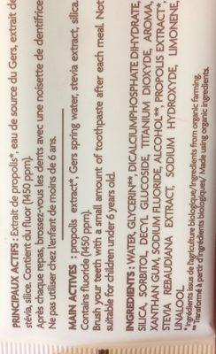 Dentifrice à la propolis - Ingredients - fr