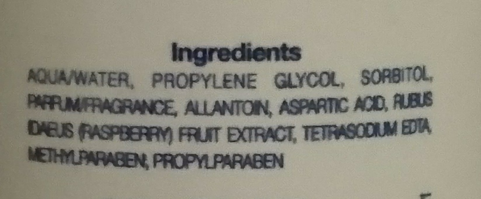 Lotion tonique framboise - Ingredients - fr