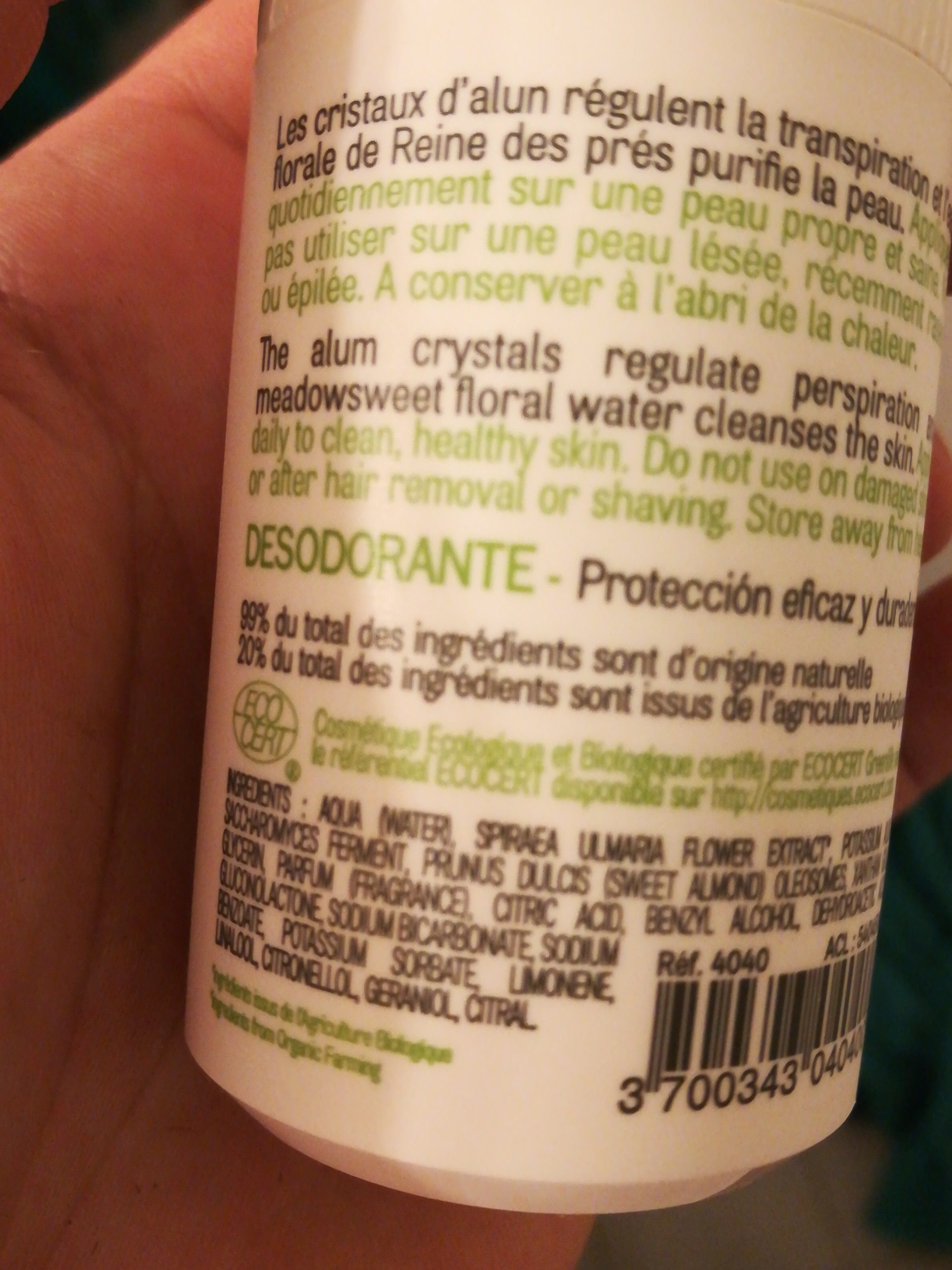 Déodorant soin - Ingredients
