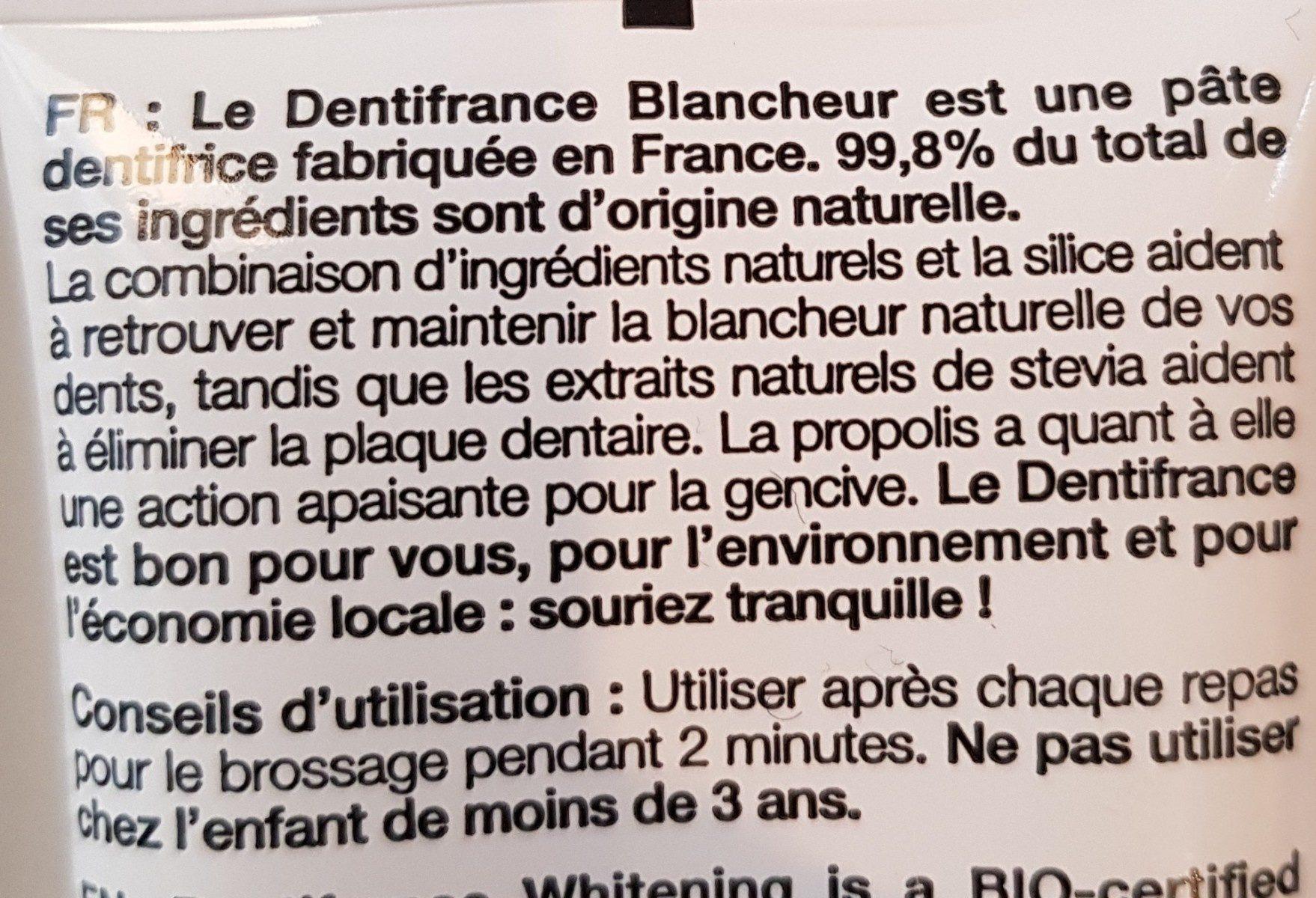 Dentifrice Bio - Ingredients - fr