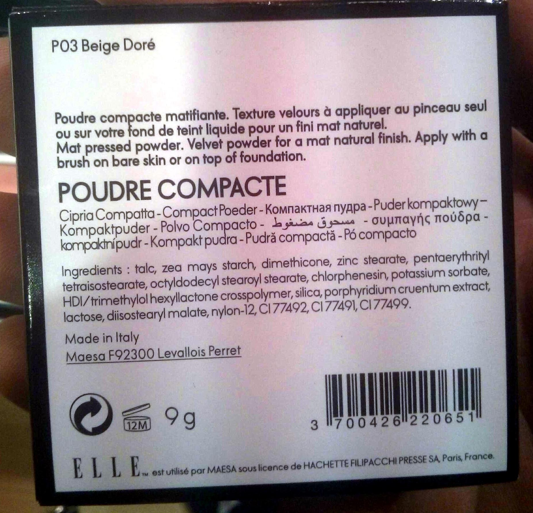 Poudre compacte P03 beige doré - Product - fr