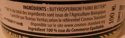 Beurre de karité - non raffiné, bio, équitable - Ingredients