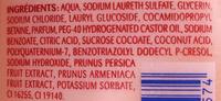 Gel douche Abricot et Pêche blanche extra doux - Ingredients