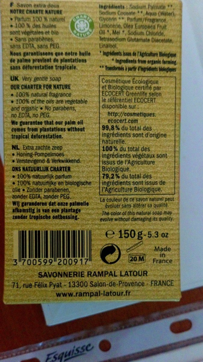 Savon extra doux - Ingredients - fr