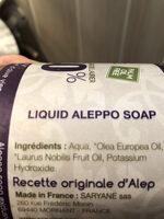 Savon liquide d'Alep - Ingrédients